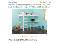 Childrens high sleeper bed with desk.