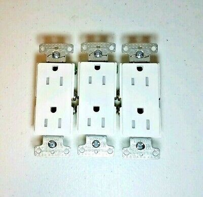 3 Pack White Decorator Child Resistant Receptacles Hubbell X-Clamp 15-A 125V