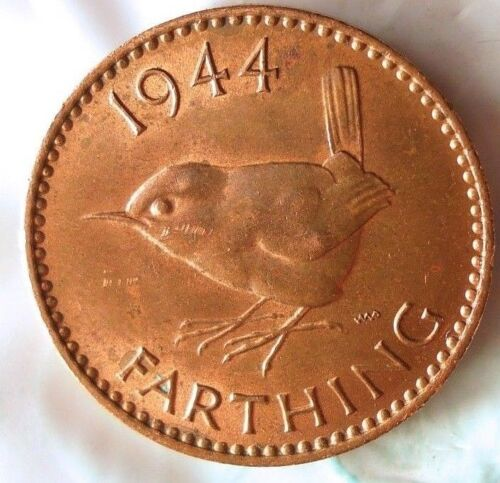 1944 GREAT BRITAIN FARTHING - Excellent Coin - FREE SHIP - Farthing Bin #2