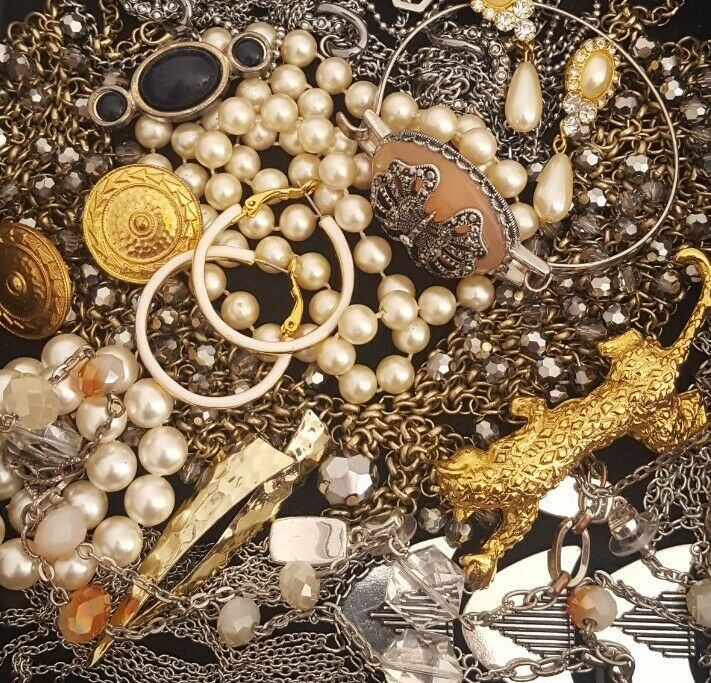 Vintage Now Unsearched Untested Junk Drawer Jewelry Lot Estate All Wear L958