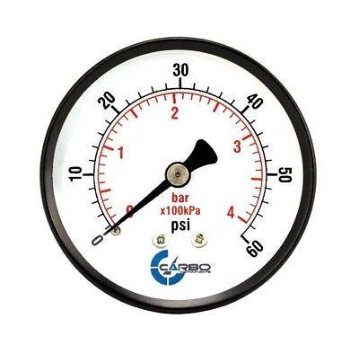 2-12 Pressure Gauge - Black Steel Case 14npt Back Mnt. 0-60 Psi
