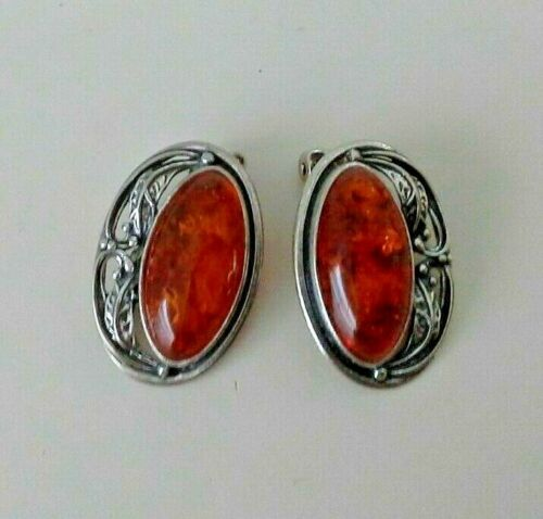 Vintage Sterling Silver Oval Amber Clip On Earrings 7.52 Grams Signed 925