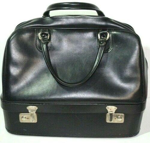 Vintage Leather Doctor Bag Satchel House Call Bag With Lock & Key Black Zipper