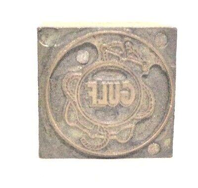 Antique Letterpress Copper Wood Printing Block- Gulf Co. Logo Vgc