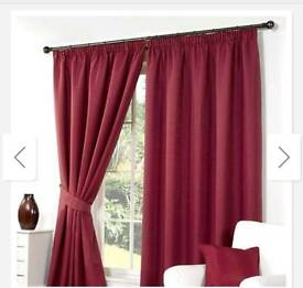 Red lined curtains 66 x 83 & cushions