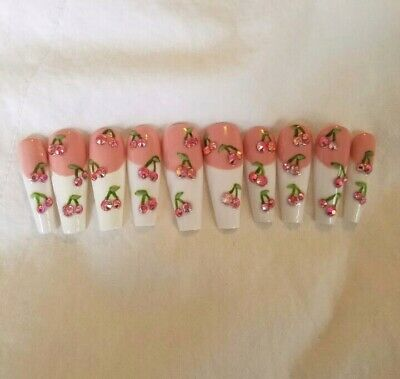 Custom Press On Nails Pink Nude Bling Cherry Rhinestone French Cute Ballerin