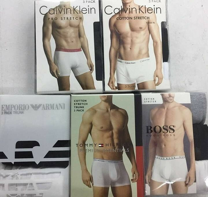 Emporio Armani, CK, Hugo Boss and Tommy Hilfiger Mens Boxer Trunk, 3 in a Box, Wholesale Only
