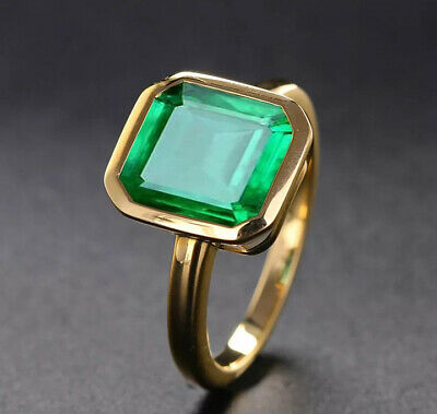 Vintage Natural Emerald Ring 18K Yellow Gold Women's Wedding Bridal Jewelry Gem