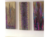 Abstract Wall Art; Indian Forest An Original Canvas Set of 3 80 x 30cm Hand Painted Acrylic