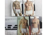 Hugo Boss, Emporio Armani, CK, and Tommy Hilfiger Mens Boxer Trunk, 3 in a Box, Wholesale Only