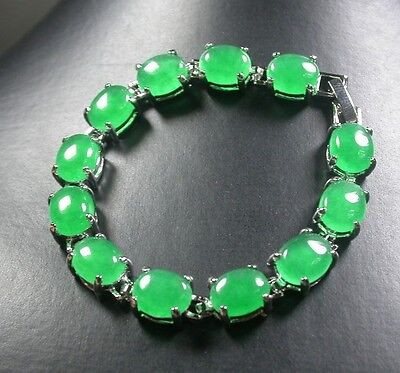 Gold Plate CHINESE Green JADE Cabochon Bead Beads Bangle Bracelet 246982 US Chinese Jade Beads Bangle