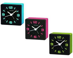 seiko qhe091 neon funky style cube analogue snooze bedside beep alarm clock new ebay. Black Bedroom Furniture Sets. Home Design Ideas