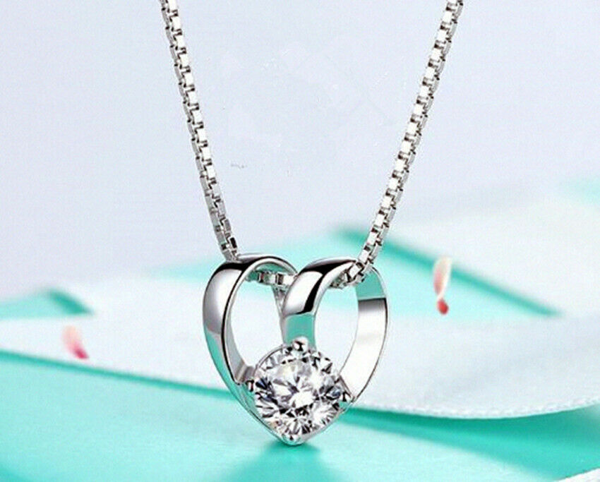 Jewellery - Linked Heart Pendant 925 sterling Silver Chain Necklace Jewellery Womens Gifts