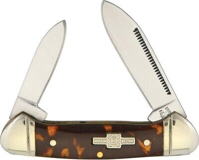 Rough Rider RR506 Tortoise Shell Mini Canoe 2 Blade Folder Folding Pocket Knife Blades Tortoise Shell