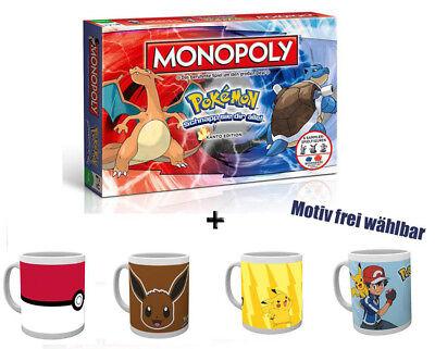 Monopoly Pokémon -Kanto Edition (deutsch) Brettspiel + Tasse verschiedene Motive (Pokemon Brett Spiel)