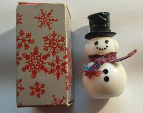 Vintage Avon DAPPER SNOWMAN Christmas Winter Empty Cologne Glass Bottle w Box