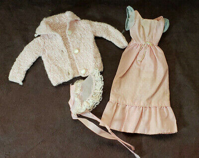 Barbie Clothes Accessories, Lot of 3 - 1970's, 1 Dress and Bonnet, Sweater, Pink
