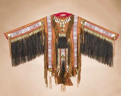"Authentic Native American Indian Saddle Deer Skin CEREMONIAL WAR SHIRT 65""x 46"""