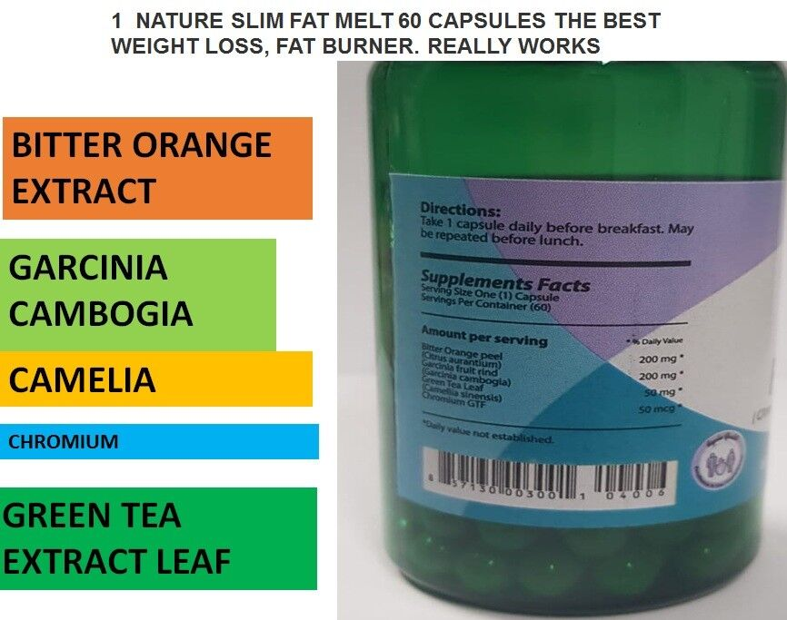 1 NATURE SLIM FAT MELT 60 CAPSULES THE BEST WEIGHT LOSS, FAT BURNER REALLY WORKS 1