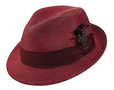 STACY ADAMS RED WINE FEDORA HAT * MENS NEW FASHION TRILBY SUN SHADY DRESS STRAW - Mens Red Fedora Hat