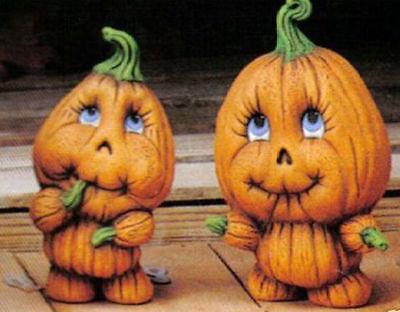 2 Pumpkin Kids Halloween Ready to Paint Unpainted Ceramic Bisque - Paint Halloween Crafts