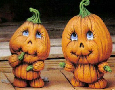 Ceramic Bisque Ready to Paint Pair of Pumpkin Kids ~ NO CUT OUTS FOR LIGHTING