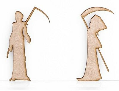 Wooden MDF Halloween Grimm Reaper Craft Shape Sign Blank 3mm Thick Blank