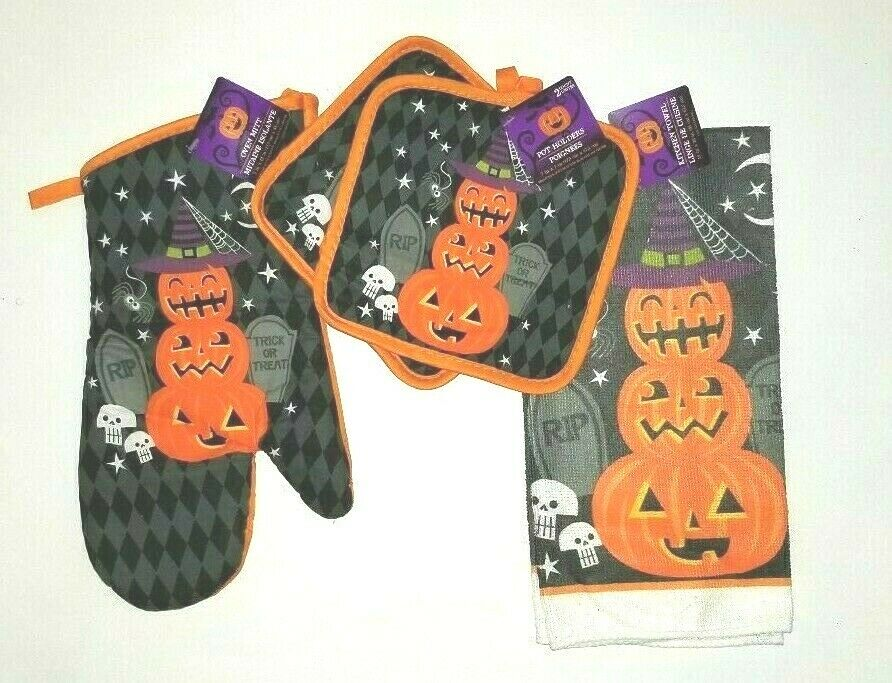halloween kitchen decor set oven mitts pot