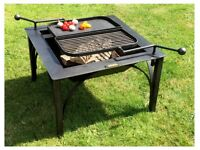 FIRE PIT WITH 2 SWING ARM BBQ RACK BOX COLLECTION