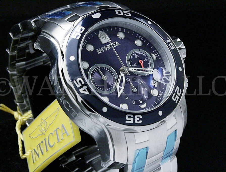 Invicta Men Pro Diver Scuba Blue Dial Swiss Made Chrono S.S Bracelet Watch NEW