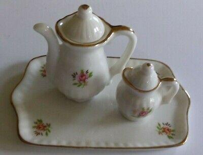Childs Small Mini Porcelain Ceramic Coffee/Tea Set On Tray