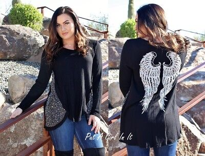 Plus Size Angel (BE VOCAL PLUS SIZE PEARL CRYSTAL BLACK ANGEL WINGS TUNIC TOP SHIRT 1X 2X 3X)