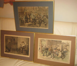 3 very nice engravings, reproducing ancient masterpieces