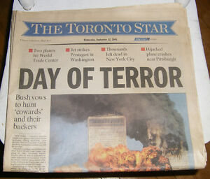 911 Sept. 12 2001 First Edition Early Toronto Star Newspaper Kingston Kingston Area image 1