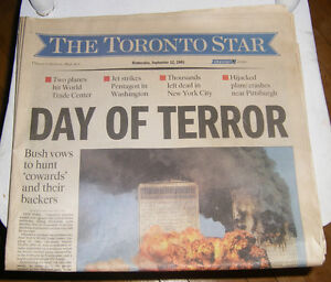 911 Sept. 12 2001 First Edition Early Toronto Star Newspaper