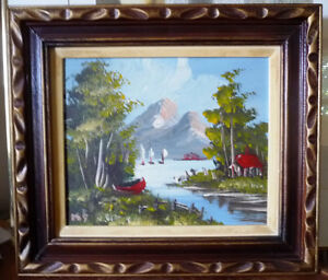 """Vintage Oil Painting by Rejean Roy, """"A Summer Afternoon"""" 1970's"""