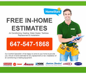 Free In-Home Estimate HVAC Furnace Air Conditioner Water Heater