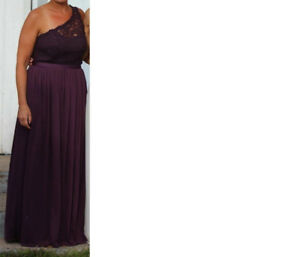 Beautiful Long One-Shoulder Lace Bridesmaid Dress in Plum