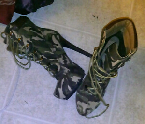 JustFab Camo High Heel Boots