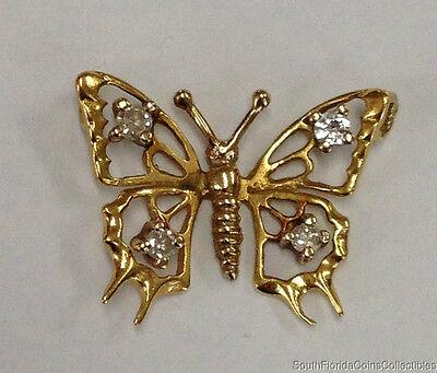 ESTATE JEWELRY LADIES 0.2 CTW DIAMOND BUTTERFLY SLIDER PENDANT 14K YELLOW GOLD  Diamond Butterfly Pendant Jewelry