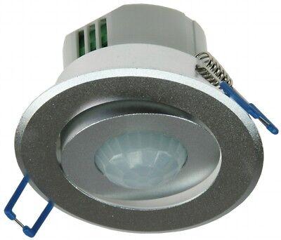 360° Decken Einbau PIR Bewegungsmelder Aluminium silber edler LED Einbaustrahler