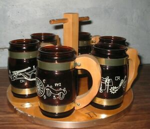 6 BEER MUGS WITH STAND