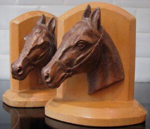 Antiquité Serre-livres Appui-Livres Tête Cheval Bookends Horse