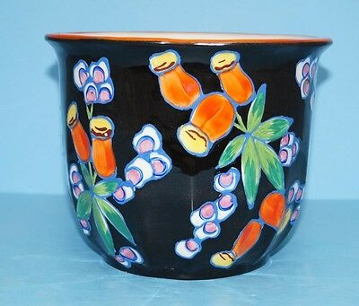 ViINTAGE HAND PAINTED SLIP DECORATED ART POTTERY CZECH FLOWER VASE