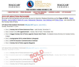 4 Hockey Hall Of Fame VIP Celebration Wkd Tickets Sat/Sun Events