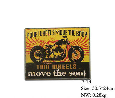 Two Wheels Retro Metal Poster Motorcycle Tin Signs Pub Garage Home Wall Decor