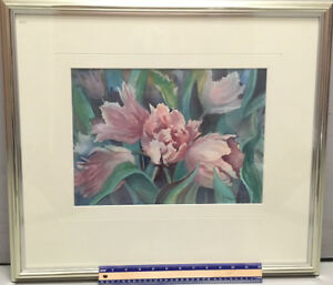 "Original Watercolor of ""Pink Tulips"" with Beautiful Chrome Frame"