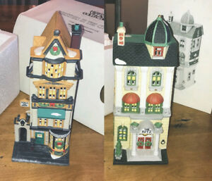 Two Department 56 Christmas Miniature houses