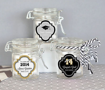 25 Personalized Graduation Party Mini Glass Jar Swing Top Lid Candy (Personalized Party Glasses)