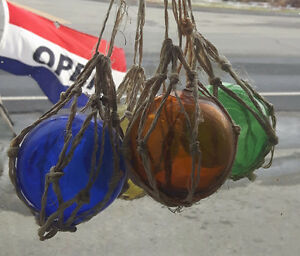 Vintage glass fishing floaters originally from Nova Scotia
